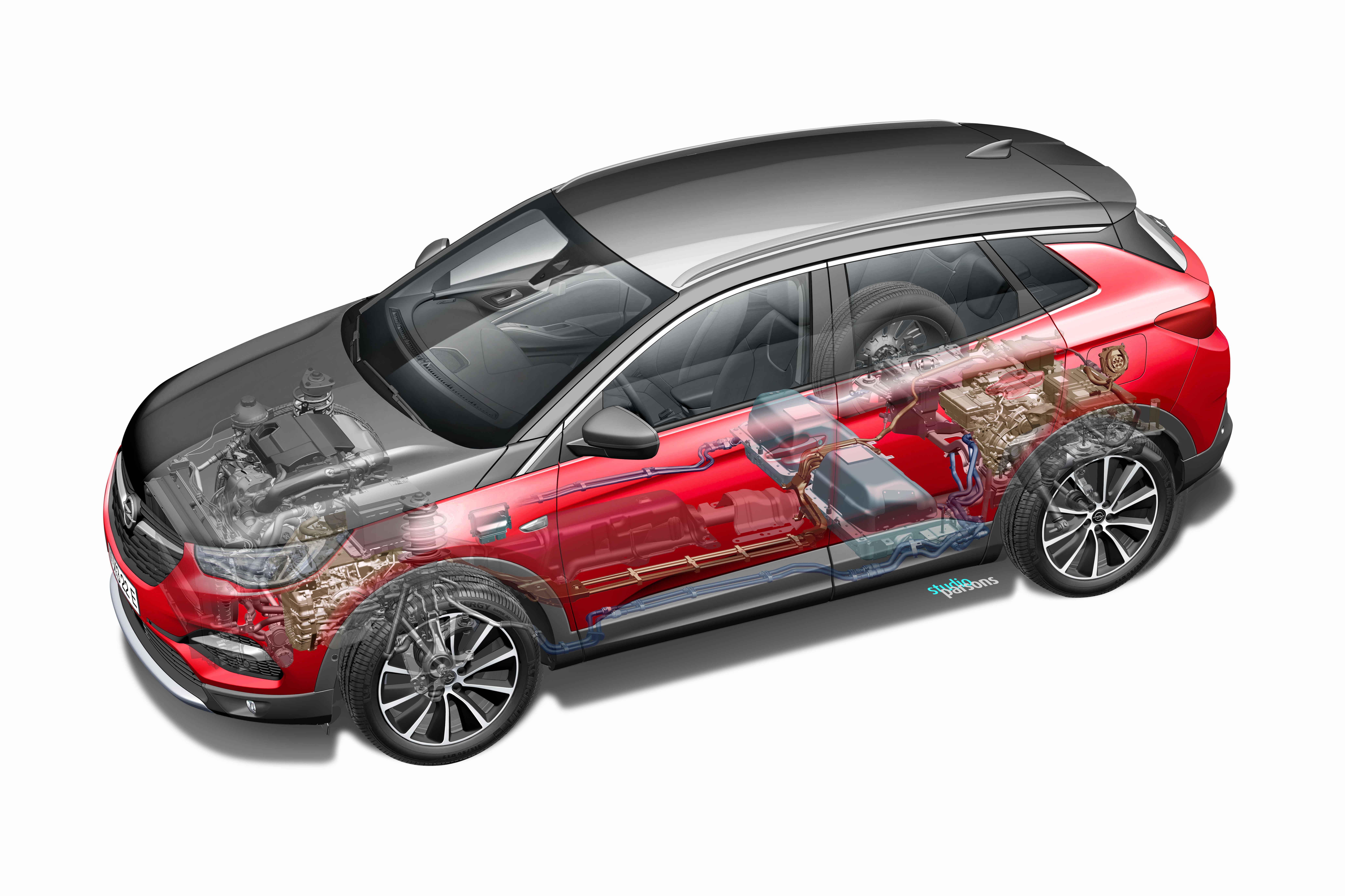 Ο δεύτερος ηλεκτροκινητήρας, ο μετατροπέας και το διαφορικό  είναι ενσωματωμένα στον πίσω άξονα στο Opel Grandland X
