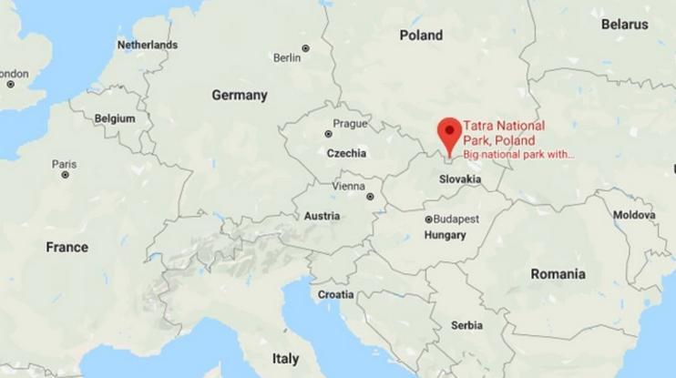Χάρτης της περιοχής όπου βρίσκεται η σπηλιά Βιέλκα Σιέζνα στη νότια Πολωνία.