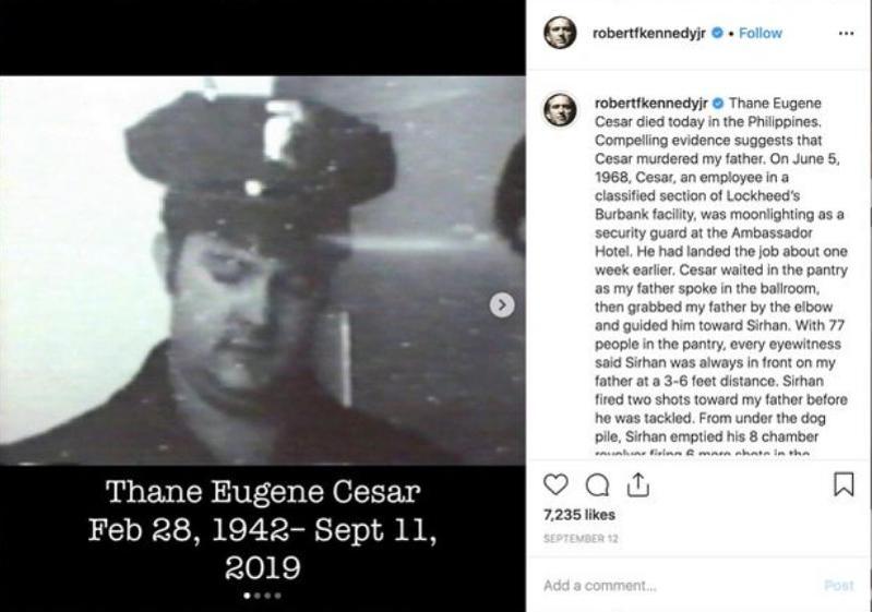 Η ανάρτηση του Ρόμπερτ Κένεντι τζούνιορ στο Instagram, όπου κατονομάζει τον φύλακα σεκιούριτι Θέιν Γιουτζίν Σίζαρ ως δολοφόνο του πατέρα του.