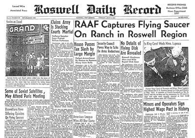 Η εφημερίδα Roswell Daily Record της 8ης Ιουλίου 1947, δημοσιεύει την ανάκτηση Ιπτάμενου Δίσκου