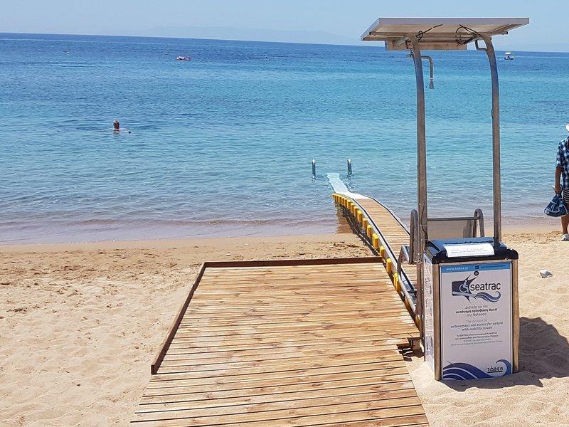Το σύστημα SEATREC εγκατεστημένο σε παραλία