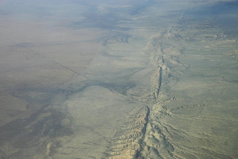 Αεροφωτογραφία τμήματος του ρήγματος του Αγίου Ανδρέα στην Καλιφόρνια.