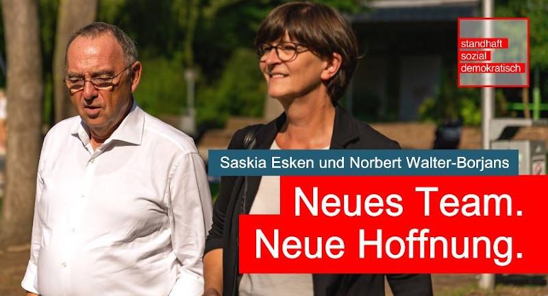 Η Σάσκια Έσκεν και ο Βάλτερ Μπόργιανς είναι το έτερο δίδυμο που διεκδικεί την προεδρία του SPD.