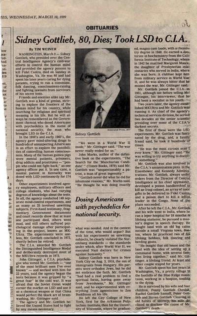 Φωτογραφία από δημοσίευμα του Μαρτίου του 1999 για τον θάνατο του Σίντνεϊ Γκότλιμπ.