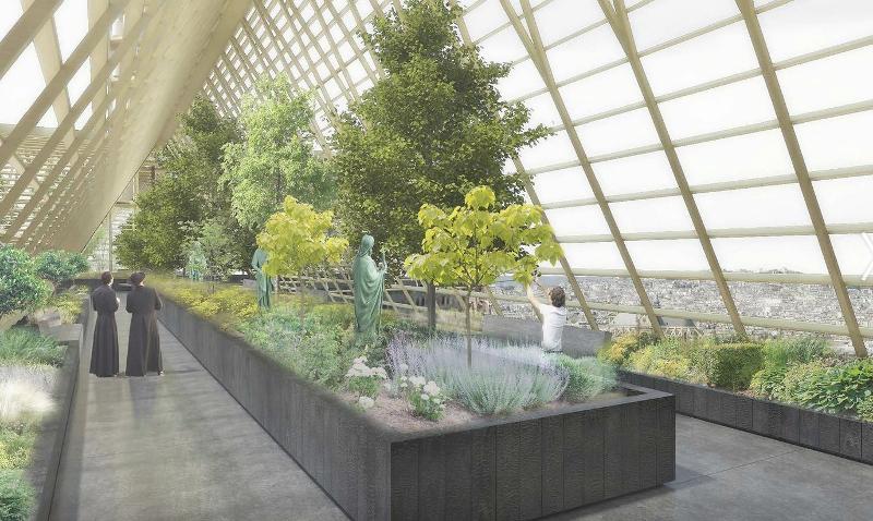 Tο εσωτερικό της γυάλινης οροφής με τα δέντρα που προτείνει το γαλλικό αρχιτεκτονικό γραφείο Studio NAB.