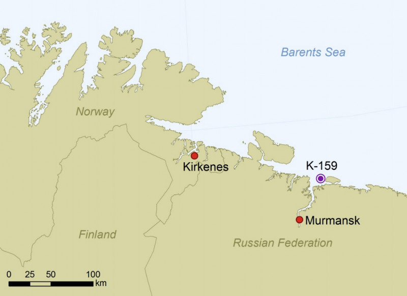 To σημείο όπου βρίσκεται βυθισμένο το ρωσικό πυρηνοκίνητο υποβρύχιο K-159 στη Θάλασσα του Μπάρεντς