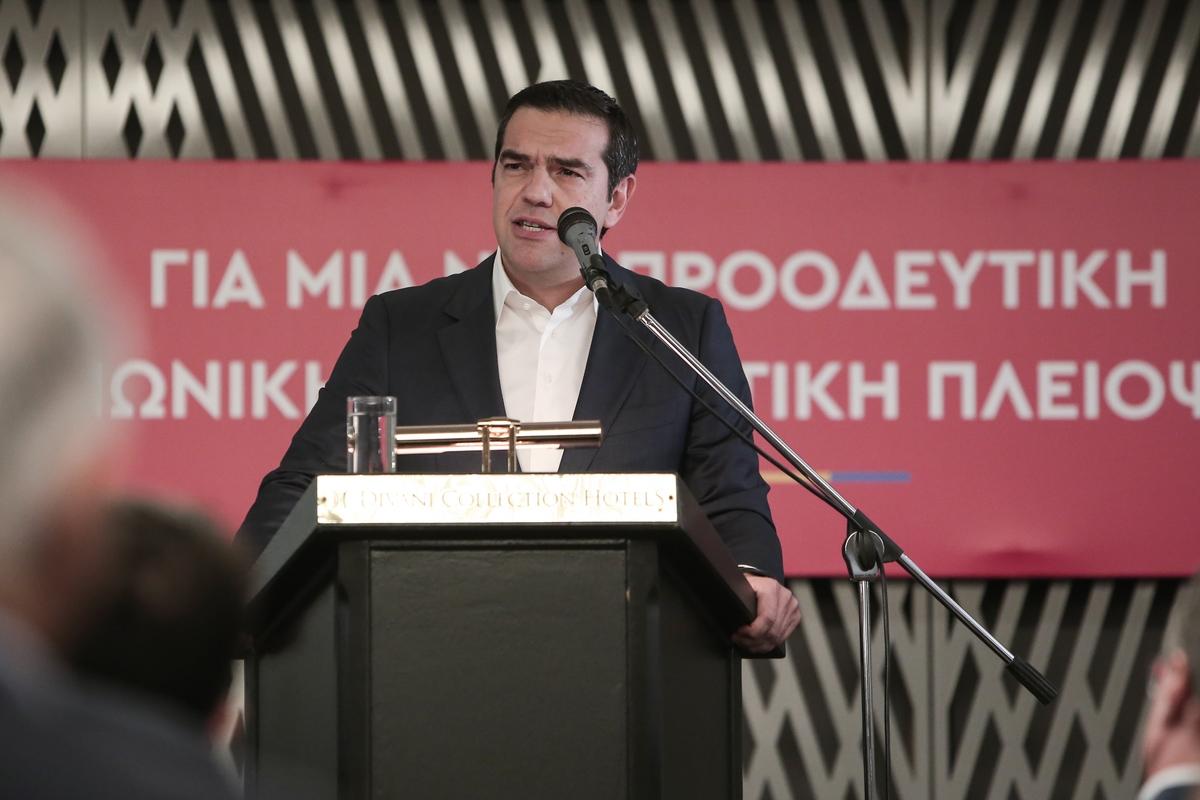 Ο Αλέξης Τσίπρας στο βήμα της εκδήλωσης