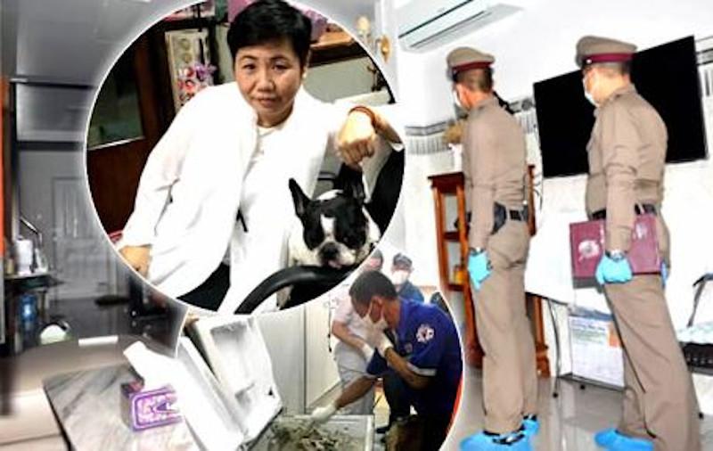 To θύμα (στην ένθετη φωτό) και η στιγμή που οι αστυνομικοί εντοπίζουν το πτώμα μέσα στο ψυγείο του σπιτιού της.