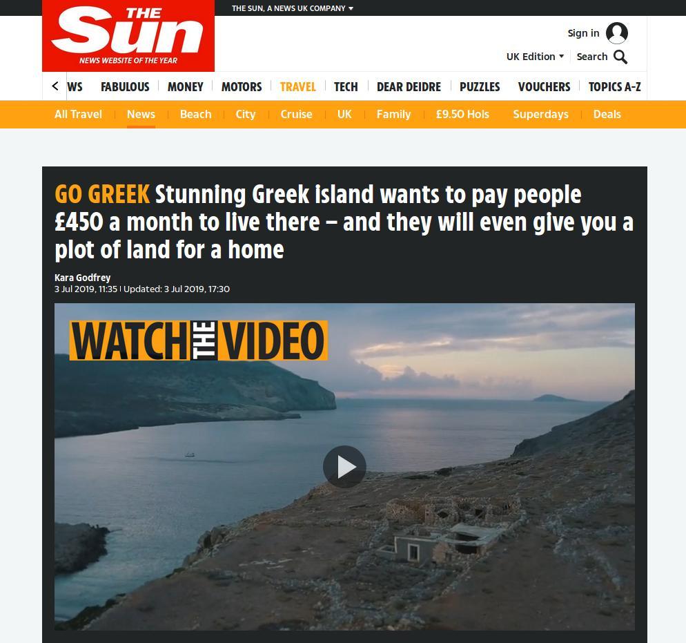 Η αναπαραγωγή της είδησης του iefimerida από την βρετανική Sun