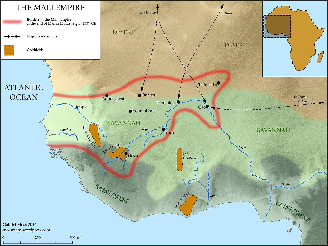 Xάρτης της αυτοκρατορίας του Μάλι την εποχή του θανάτου του Μάνσα Μούσα.