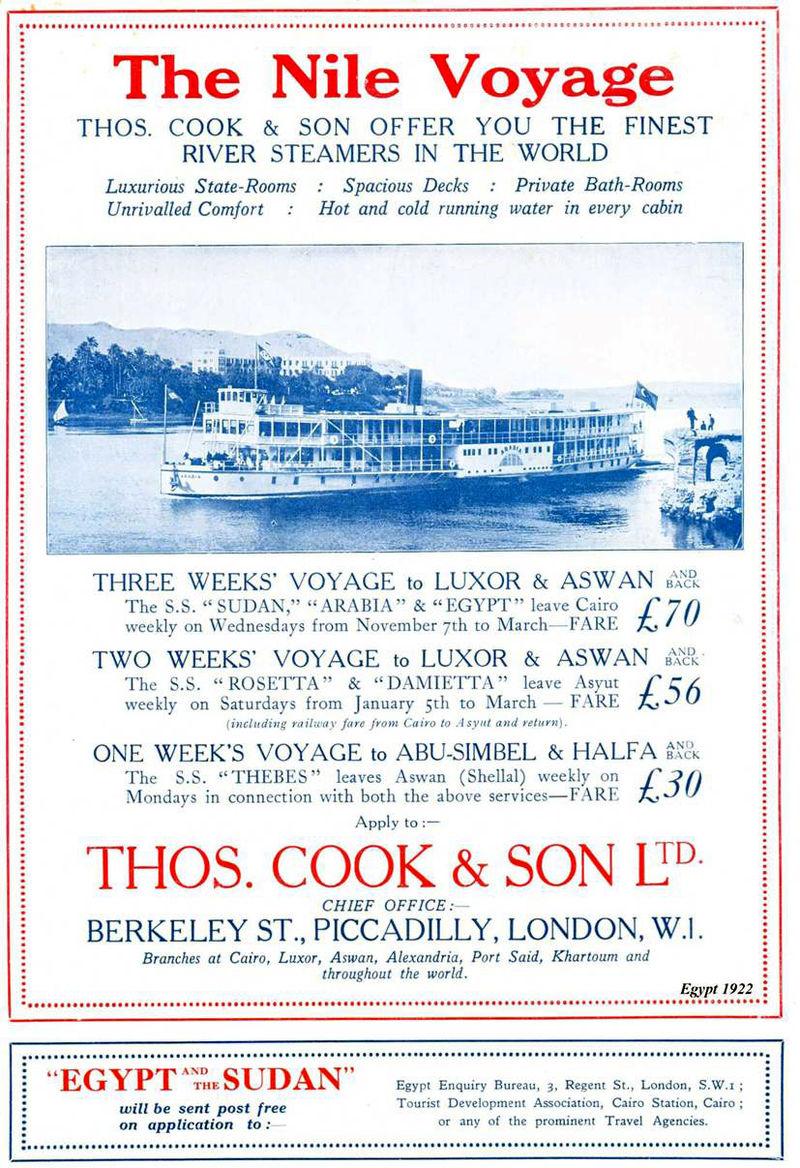 Διαφημιστική αφίσα του 1922 του Thomas Cook με κρουαζιέρες στο Νείλο.