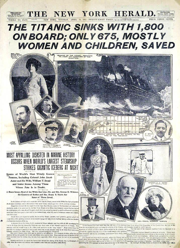 ο πρωτοσέλιδο της New York Herald για το ναυάγιο του Τιτανικού.