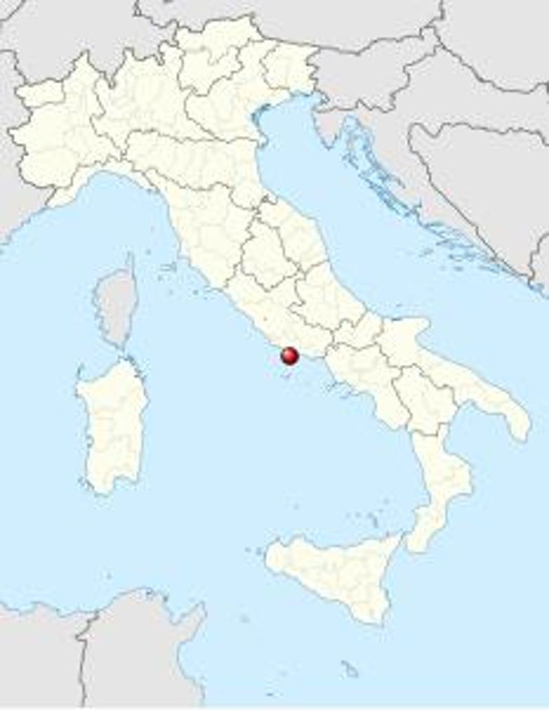 Χάρτης της περιοχής όπου βρίσκεται η σπηλιά στην κεντρική Ιταλία.