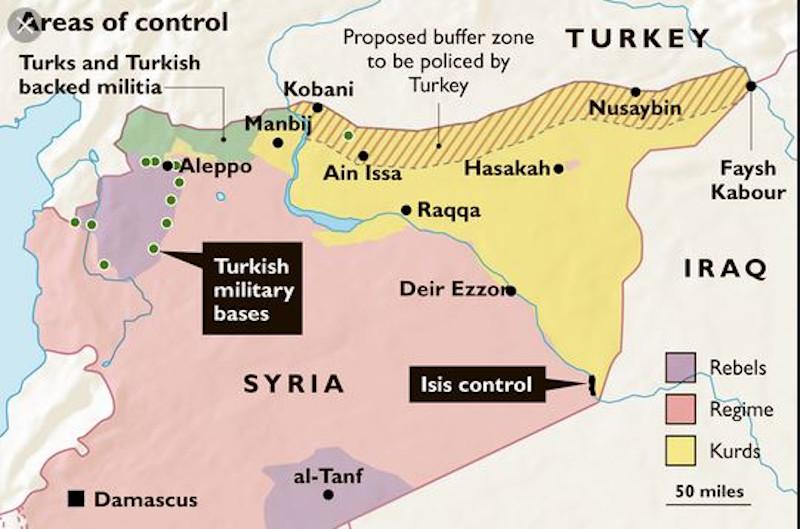 Χάρτης με τη ζώνη ασφαλείας βάθους 30 χιλιομέτρων που θέλει να δημιουργήσει η Τουρκία στα νότια σύνορά της εντός συριακού εδάφους.