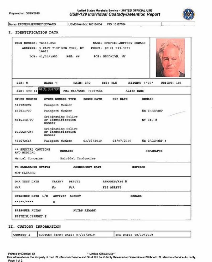 Η έκθεση ανέφερε ότι ο Τζέφρι Έπσταϊν παρουσίαζε «αυτοκτονικές τάσεις». Λίγες εβδομάδες μετά τη σύλληψή του βρέθηκε απαγχονισμένος στο κελί του.