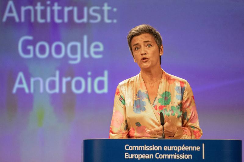 Τον Ιούλιο του 2018 η Βεστάγκερ ανακοίνωσε πρόστιμο μαμούθ 5 δισ ευρώ στην Google.