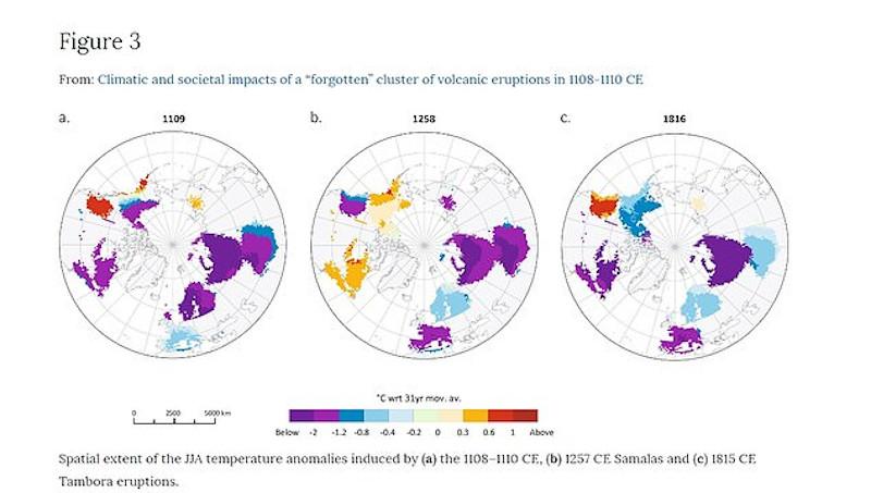 Μεταβολές θερμοκρασίας στον πλανήτη που προκάλεσε η έκρηξη του Ασάμα κι άλλων δύο ηφαιστείων κατά τον Ύστερο Μεσαίωνα