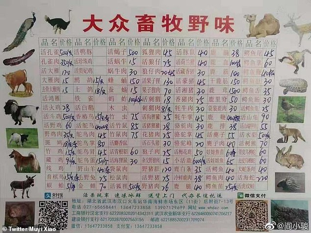 Tιμοκατάλογος κρεάτων αγρίων ζώων που πωλούνταν στην υπαίθρια αγορά της Βουχάν στην Κίνα.