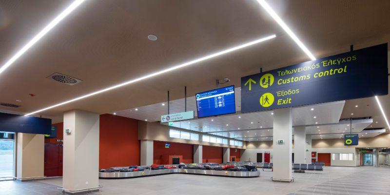 Η περιοχή διεκδίκησης αποσκευών στο νέο τερματικό σταθμό της Μυτιλήνης
