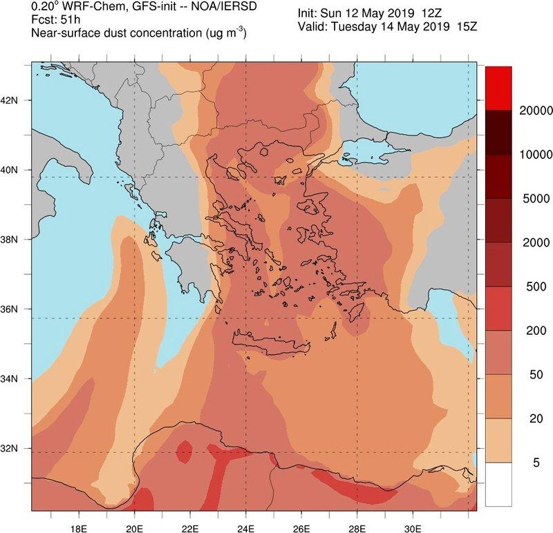 Χάρτης που δείχνει τη χώρα σχεδόν καλυμμένη από αφρικανική σκόνη την Τρίτη 14 Μαΐου