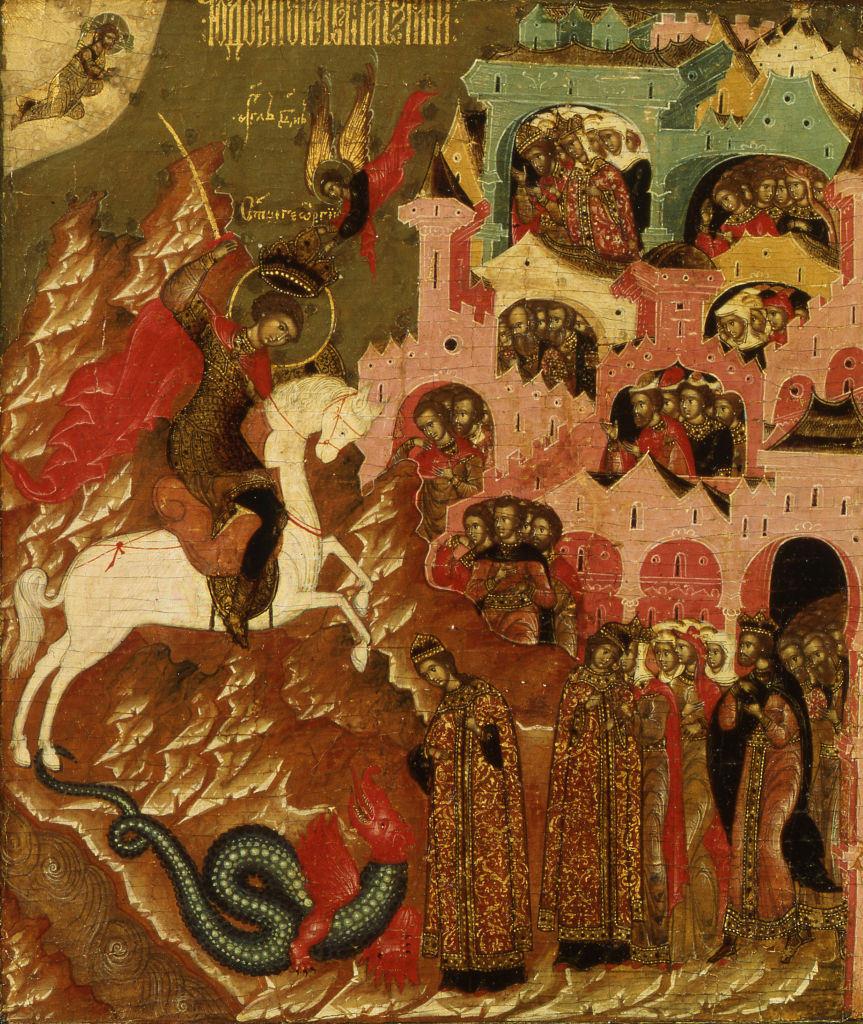 Εικόνα του Αγίου Γεωργίου στο άλογο να σκοτώνει τον δράκοντα