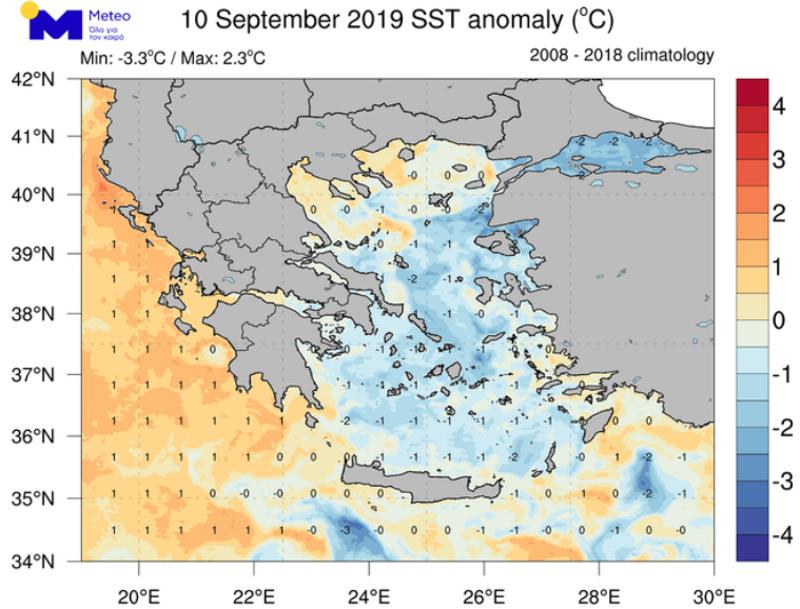 Η απόκλιση της θερμοκρασίας της επιφάνειας της θάλασσας από τις φυσιολογικές για την εποχή τιμές