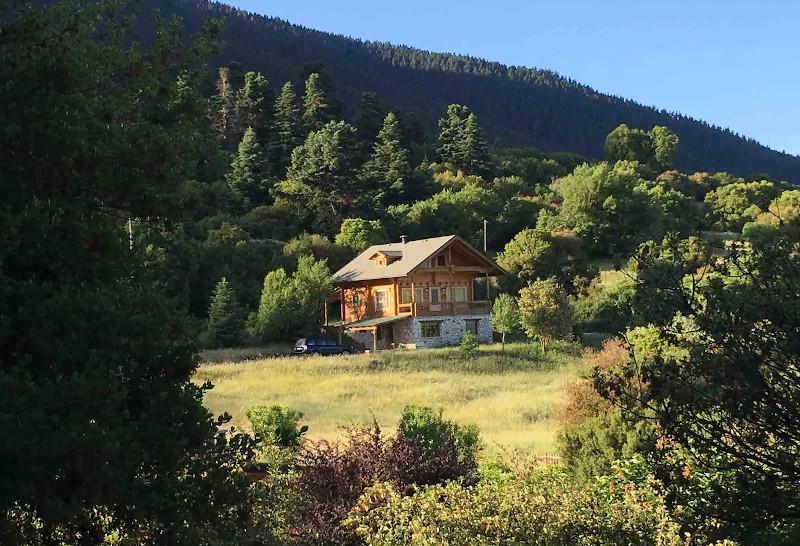 Το Vytina Log House μέσα στο πράσινο