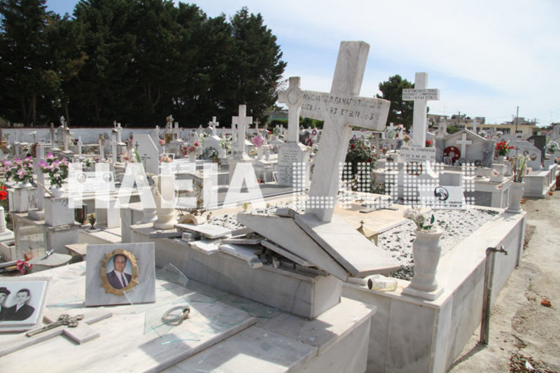 Ενας σταυρός, που βρισκόταν πάνω σε τάφο, έχει ξεριζωθεί