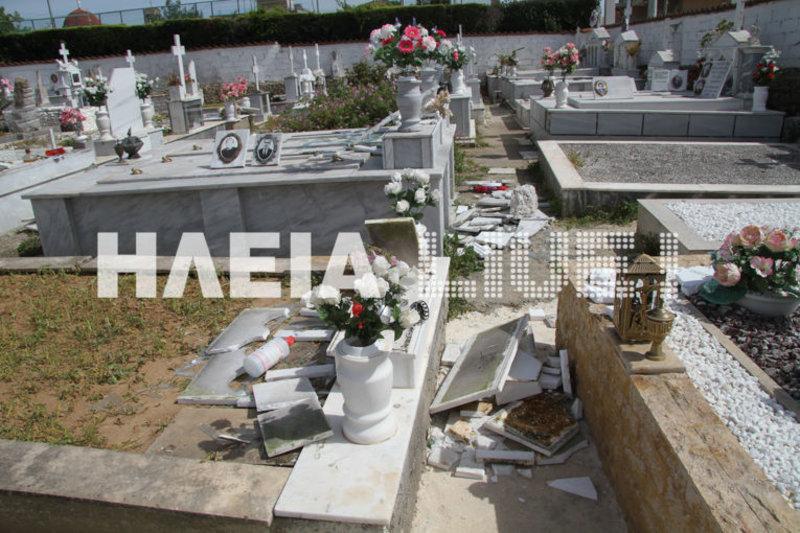 Εικόνες διάλυσης στο νεκροταφείο της Ανδραβίδας