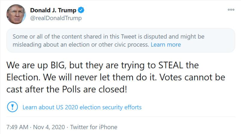 Αμερικανικές Εκλογές 2020 αναφορά tweet Τραμπ