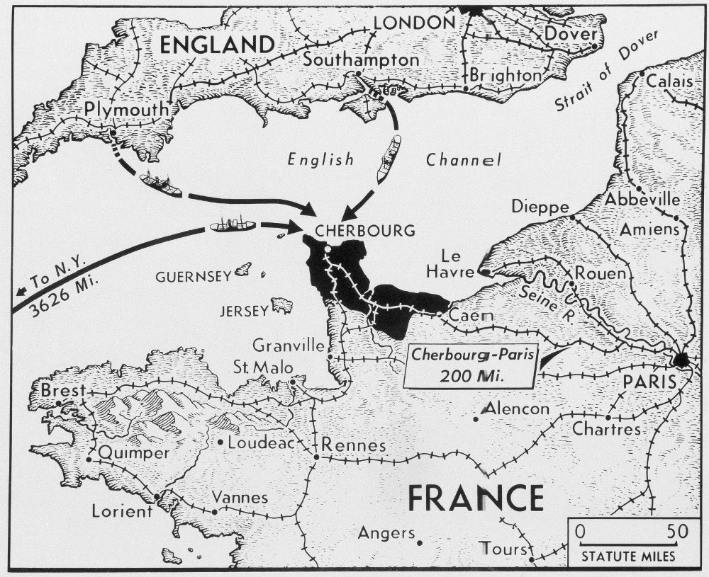 Ο χάρτης της επιχείρισης των Συμμαχικών Δυνάμεων που κατέληξε με την απόβαση στη Νορμανδία