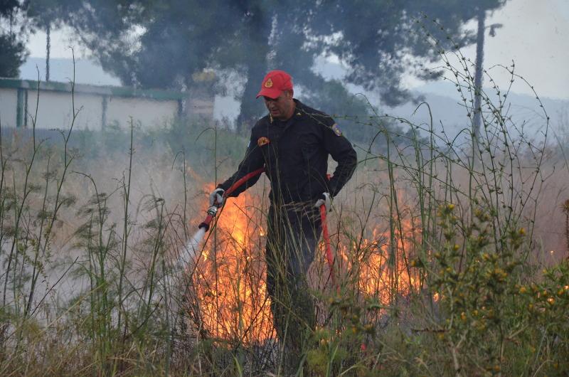 Πυροσβέστης επιχειρεί κατάσβεση φωτιάς που ξέσπασε από κεραυνό