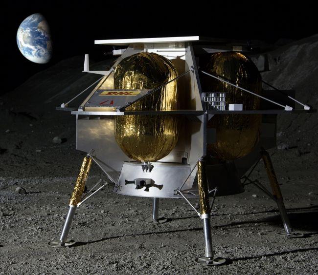 Σχέδιο ρομποτικού σκάφους προσελήνωσης της Astrobotic, μιας από τις τρεις ιδιωτικές εταιρείες που επέλεξε η NASA.