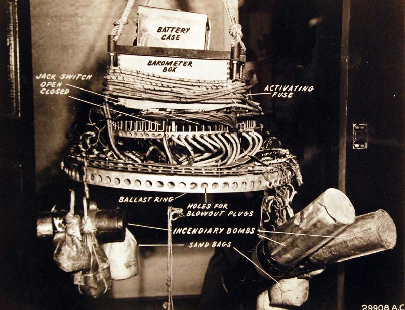 Ο μηχανισμός ενός «Φούγκο», όπως αποκαλούσαν οι Ιάπωνες τα αερόστατα-βόμβες που χρησιμοποίησαν κατά των ΗΠΑ στη διάρκεια του Β΄Παγκοσμίου Πολέμου.
