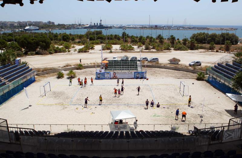 Αγώνας μπιτς χάντμπολ το 2019 στην εγκατάσταση από την ΟΧΕ