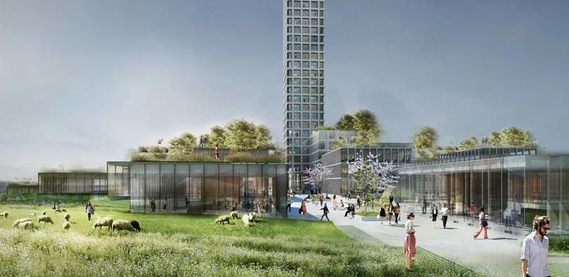 Καλλιτεχνική απεικόνιση του ουρανοξύστη που θα κατασκευαστεί στο Μπράντε της Δανίας.