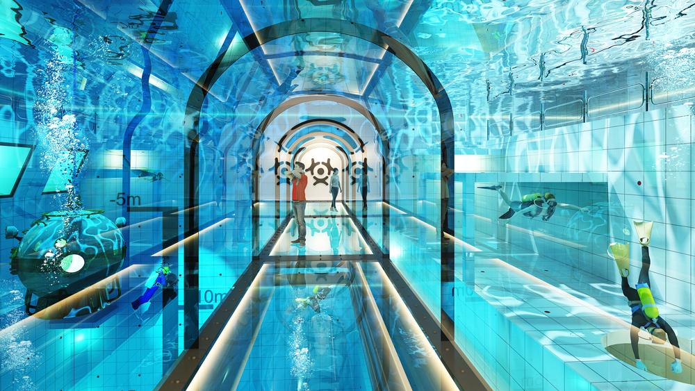 Τα σχέδια της νέας πισίνας! Θα υπάρχει και υποβρύχιος διάδρομος για όσους θέλουν να θαυμάσουν το εσωτερικό της...