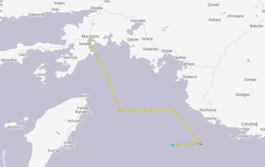 Η πορεία του Bilim 2 στο Αιγαίο