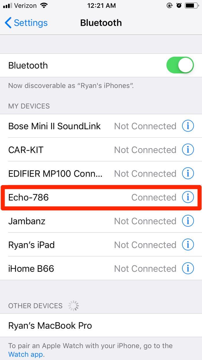 Ποιες συσκευές Bluetooth είναι συνδεδεμένες με το iPhone