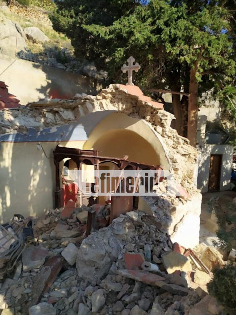 Από την κατολίσθηση κατέρρευσε σχεδόν ολόκληρο το κτίριο του μοναστηριού στη Σύμη