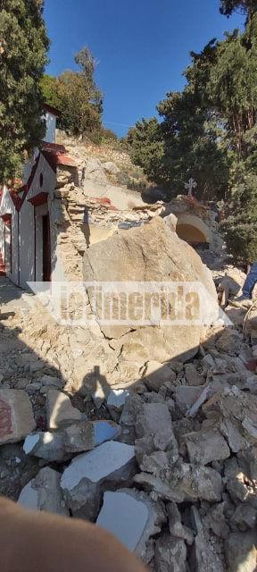 Τεράστια κομμάτια βράχου διέλυσαν το μοναστήρι του Αγίου Νεκταρίου στη Σύμη