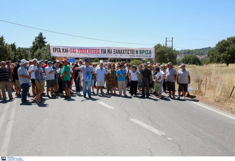 Διαμαρτυρία έκαναν οι σεισμόπληκτοι της Βρίσας