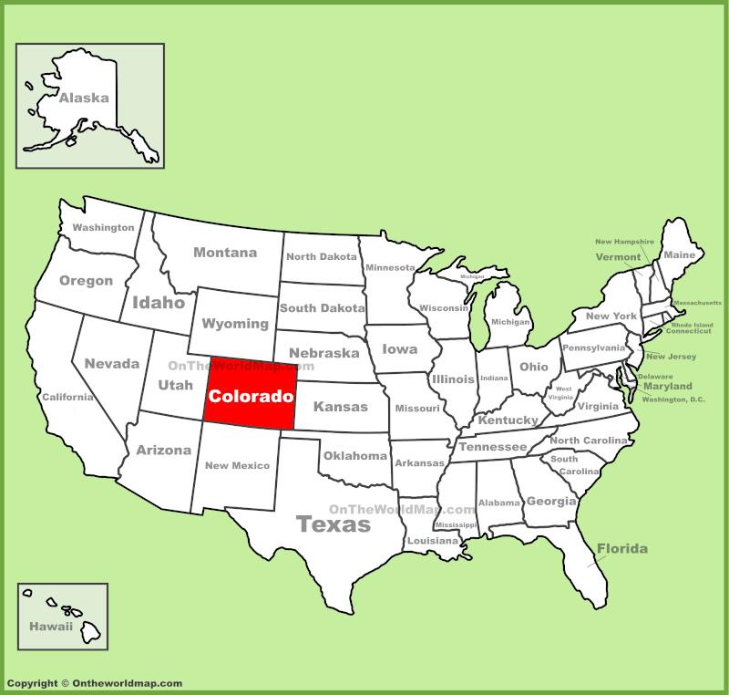Χάρτης των ΗΠΑ με το Κολοράντο σε κόκκινο χρώμα