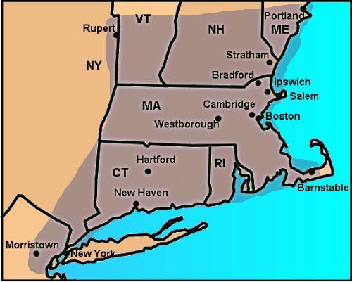 Χάρτης της περιοχής όπου εξαπλώθηκε το πηχτό σκοτάδι στις 19 Μαϊου 1780 στις ανατολικές ΗΠΑ.