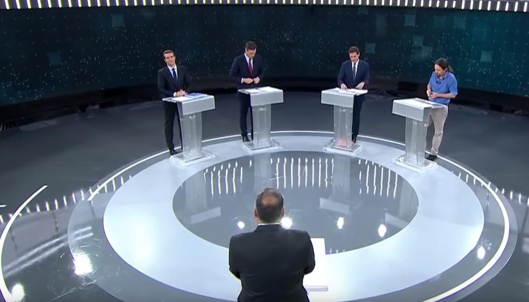 Οι αρχηγοί των τεσσάρων κύριων πολιτικών κομμάτων της Ισπανικής Βουλής στη διάρκεια του debate.