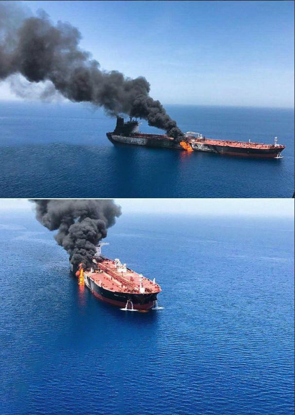Δεξαμενόπλοιο στο Ομάν, τυλιγμένο στις φλόγες