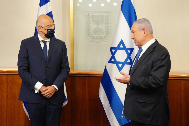 Ο υπουργός Εξωτερικών Νίκος Δένδιας με τον πρωθυπουργό του Ισραήλ Μπενιαμίν Νετανιάχου