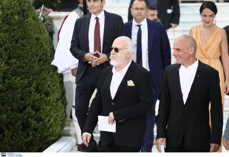 Ο Διονύσης Σαββόπουλος και ο γραμματέας του ΜέΡΑ 25 Γιάνης Βαρουφάκης