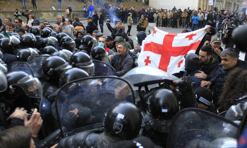 Επεισόδια σε αντικυβερνητική διαδήλωση στη Γεωργία / Φωτογραφία: AP