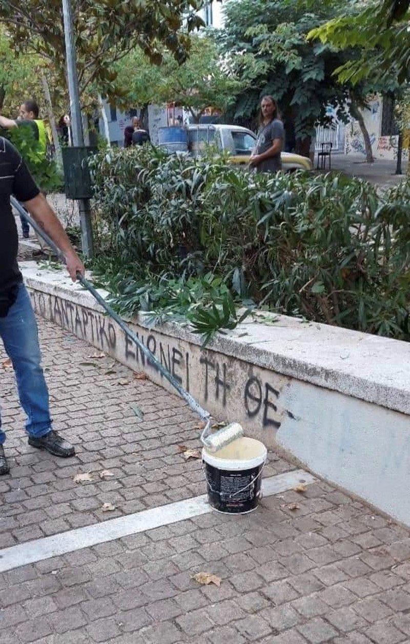 Τα συνεργεία του δήμου Αθηναίων στη Νομική